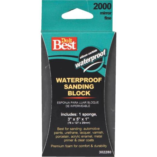 Do it Best Waterproof 3 In. x 5 In. x 1 In. 2000 Grit Mirror Fine Sanding Sponge