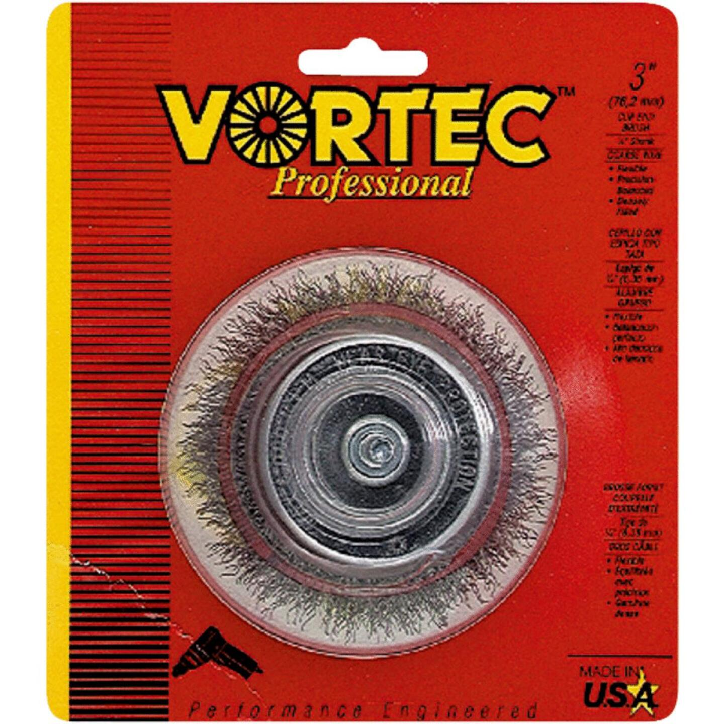 Weiler Vortec 3 In. Professional Shank-Mounted Drill-Mounted Wire Brush Image 1