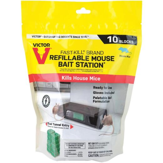 Victor Fast-Kill Refillable Mouse Bait Station (10-Refill)