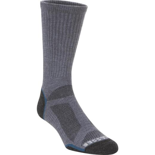 Hiwassee Trading Company Charcoal/Blue Light Tech Crew Sock,M