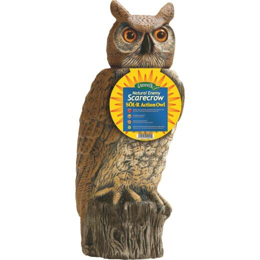 Gardeneer Natural Enemy Scarecrow 18 In. Solar Owl Pest Deterrent Decoy